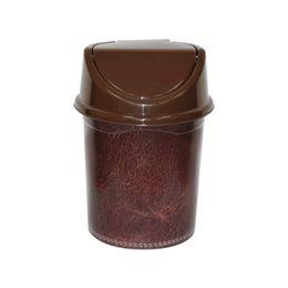 Ведро для мусора с подвижной крышкой 14л с декором «Кожа»