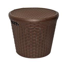 Корзина «Ротанг» 15л круглая с крышкой, цвет  коричневый