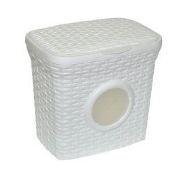 Контейнер для стирального порошка «Ротанг» 10л с иллюминатором, цвет белый