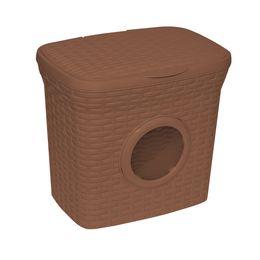 Контейнер для стирального порошка «Ротанг» 10л с иллюминатором, цвет какао