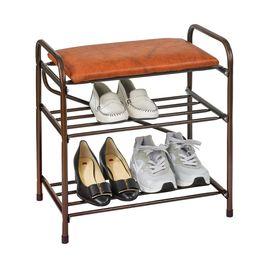 Банкетка-этажерка для обуви с мягким сиденьем, цвет коричневый