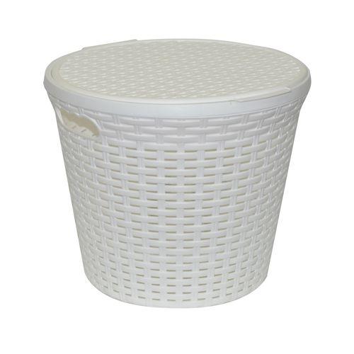 Корзина «Ротанг» 15л круглая с крышкой, цвет белый