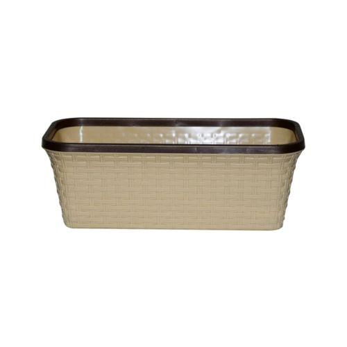 Балконный ящик «Ротанг» 40см с дренажем, цвет бежевый