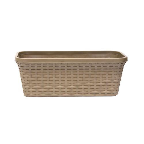 Балконный ящик «Ротанг» 40 см с дренажем, цвет капучино