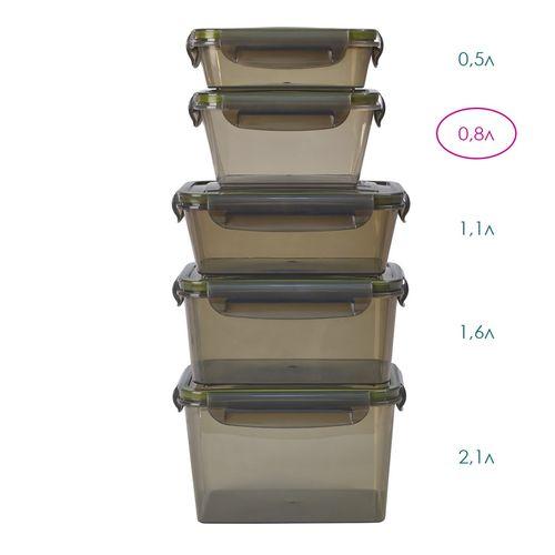 Контейнер герметичный прямоугольный 0,8л (дымчатый)