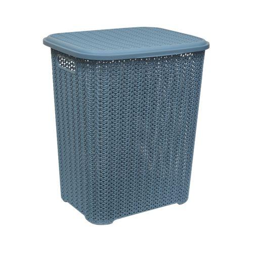 Корзина для белья «Вязь» 60л, цвет голубая норка